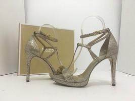 Michael Kors Simone Silver Glitter Women Evening Platform High Heels San... - $82.47