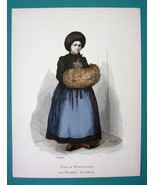 AUSTRIA Winter Costume Lady in Montafon Vorarlberg - 1880s Color Antique... - $9.44