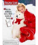 Samoyed Dog Virginia Slims 1995 Philip Morris Cigarette AD Lady in Red - $14.99
