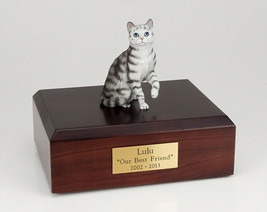 Tabby Silver Cat Figurine Pet Cremation Urn Available 3 Different Colors... - $169.99+