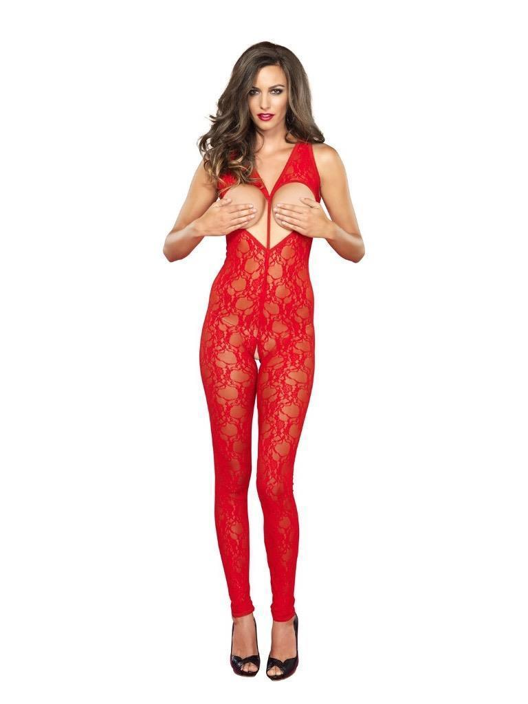 New Leg Avenue Women's Premium Lace Bodystocking Teddie One Size Red 89118