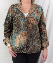 Tapestry Jacket L size Reversible Brown Blue Floral Lightweight All Season - $10.53