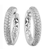 Filigree Vintage Solid 14K White Gold 1.14CT Real Diamond Huggies Fine E... - $1,212.21
