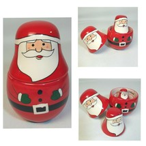 Kringle Kitchen Santa Nesting Doll Measuring Cups Hand Painted Matryoshk... - $16.82