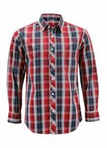 Men's Cotton Casual Long Sleeve Classic Plaid Button Up Dress Shirt - Medium