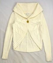 Banana Republic Soft White Wool Angora Cashmere Knit Cardigan Sweater Top Xs - $19.79