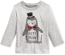 First Impressions Baby Boys' Ladies Man Penguin T-Shirt, Gray, Size 18 Months - $8.90