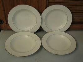 4 RARE Pfaltzgraff Bone Chine Soup Bowl Wide Rim REBECCA Made USA Cream & Silver - $38.60