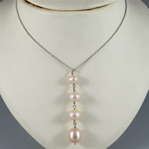 18K WHITE GOLD LARIAT NECKLACE ROLO CHAIN FW ROUND OVAL DROP PINK PEARL PENDANT image 2
