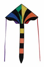 46 Inch Rainbow Sparkler Fly Hi Delta Kite w tail Ripstop In the Breeze - $17.99