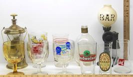 Vintage Barware Mugs Goblets Glasses Budweiser Ballantine 7Up Decanter B... - $41.13