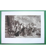 BIBLE Flight of Lot & Family from Sodom - SUPERB Victorian Era Antique P... - $16.20