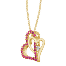 14k Yellow Gold Fn Round Cut Pink Sapphire Doub... - $56.99