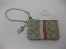 Coach Stripe Signature Khaki Tan White Pink Wallet Wristlet Clutch Purse CLEAN - $29.69