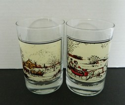 Two Winter Currier & Ives Arby's Collector Highball Tumblers Glasses Roa... - $16.71