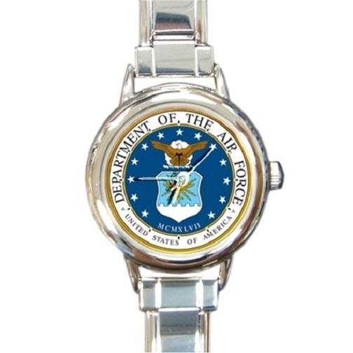 Ladies Round Italian Charm Bracelet Watch US Air Force Gift model 14599514
