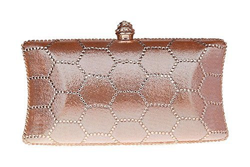 New Rhinestone Quilted Clutch Evening Bag Wedding Package--Champagne Color