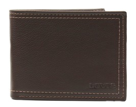 New Levi's Men's Premium Leather Credit Card Id Wallet Billfold Brown 31LV2402