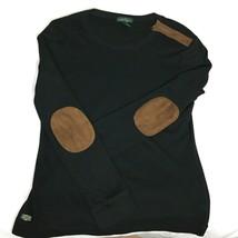 Ralph Lauren Womens XL Top Black Cotton Knit Faux Leather Elbow Patches  - $19.79