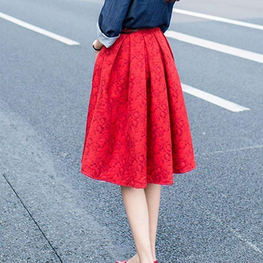 Pleated Floral Jacquard Women A-Line Skirts
