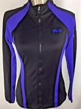 Fila Women Jacket Small Full Zip Black Purple Arm Pocket Zipper Pockets - $17.78