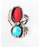 Coral & turquoise ring woman's size 9 sterling signed R. Williams - $49.50