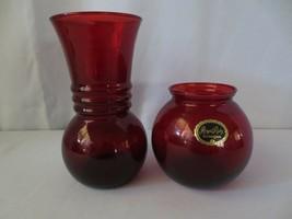 2 MINT Vtg Anchor Hocking Royal Ruby Red Depression Glass Flower Vase Ba... - $30.00