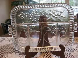 Indiana Glass-Divided Relish Serving Tray/Platter-5 Sections-Fruit Desig... - $14.00