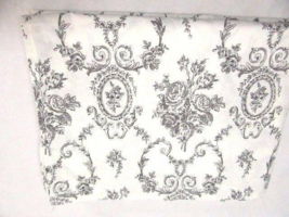 Martex Cameo Floral Toile Black White Cotton Twin Flat Sheet - $26.00