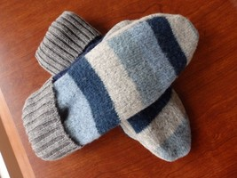 Blue Stripe Wool Sweater mittens Handmade  one size fits most - $22.30