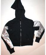 New Womens Designer True Religion Sequin Hoodie Jacket Crop Navy Blue Si... - $79.60