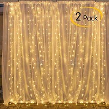 Moonflor 2 Pack 300 LED Window Curtain Icicle String Light, 8 Modes Fairy Twinkl
