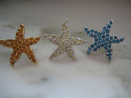 AUTHENTIC SWAROVSKI STARFISH or SEA STAR PIN or BROOCH - SET OF 3 - $60.00