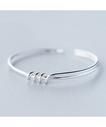 Sweet layers knots 925 sterling silver bangle opening free size  - $1.003,33 MXN