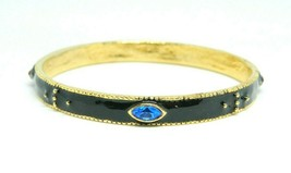 Black Enamel Multi-Color Rhinestone Gold Tone Heavy Bangle Bracelet Vintage - $24.74