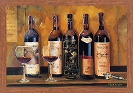 FRAMED Cellar Reds Wine Bottles by Marilyn Hageman 36x24 Art Print Honey... - $88.81