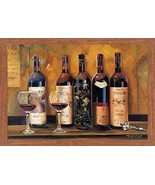 FRAMED Cellar Reds Wine Bottles by Marilyn Hageman 36x24 Art Print Honey... - $88.81