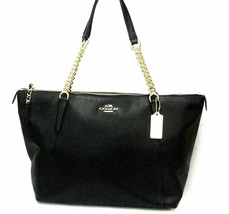 NEW! Authentic! Black COACH Pebble Leather AVA Chain Top Zipper Tote - $265.89