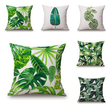 New Green Tropical Plant Tree Leaves Pillow Cover Fresh Throw Pillow Cas... - €9,36 EUR