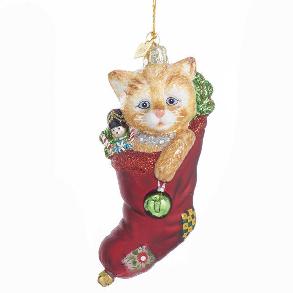 Cat w/Stocking Noble Gems Glass Ornament