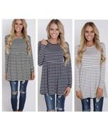 Women's Striped Peyton Top Gray/Navy/Black 1X/2X Fit - $10.00
