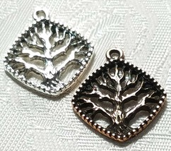 TREE OF LIFE BEADED DIAGONAL SQUARE FINE PEWTER PENDANT CHARM 21x23.5x2.5mm image 1