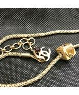 CHANEL Pendant Necklace CC Logo Square stone Gold Vintage M37 MINT - $543.51