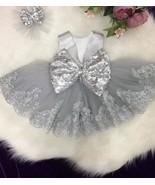 V Back Light Grey Flower Girl Dresses with Appliques Sequins - £79.92 GBP+