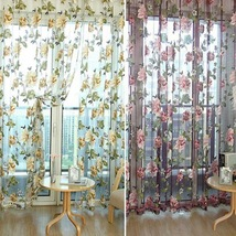 1Pcs New Floral Tulle Window Curtain Panel Sheer Voile Door Drape Scarf ... - $8.19