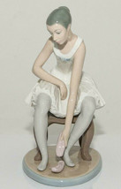 NAO by LLADRO Ballerina Sitting on Stool Putting on Taking off Shoes Dan... - $138.59