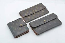 LOUIS VUITTON Monogram Wallet 3 Set LV Auth kh035 TEAR - $173.34