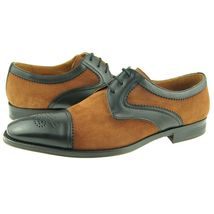 Handmade Vintage Suede Tan Gray Leather Brogues Cap Toe Casual Dress Men Shoes - $139.90+