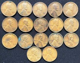 Lot of 17x USA Lincoln Head Wheat Pennies - Dates: 1927 to 1940 - $11.19
