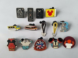 Disney Hidden Mickey Park Signs Theme Set 15 Piece Pin Collectible Lanya... - $15.64